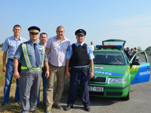 Joint patrol at Hungarian/Romanian border. Belarussian, Ukrainian, Hungarian, Romanian border guards.