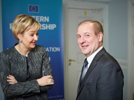 Olga Stankevich, Head of the Department on Cooperation with International Organizations and Vladimir Margevich Deputy Head of Directory - Head of Office on Labour Migration, Refugees and Asylum (right)